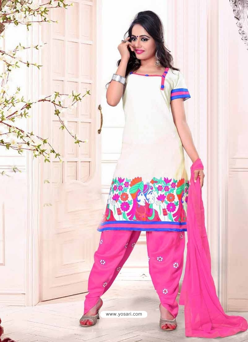 White And Pink Cotton Punjabi Patiala Suit