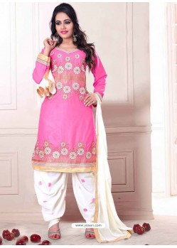 Pink And White Cotton Punjabi Patiala Suit