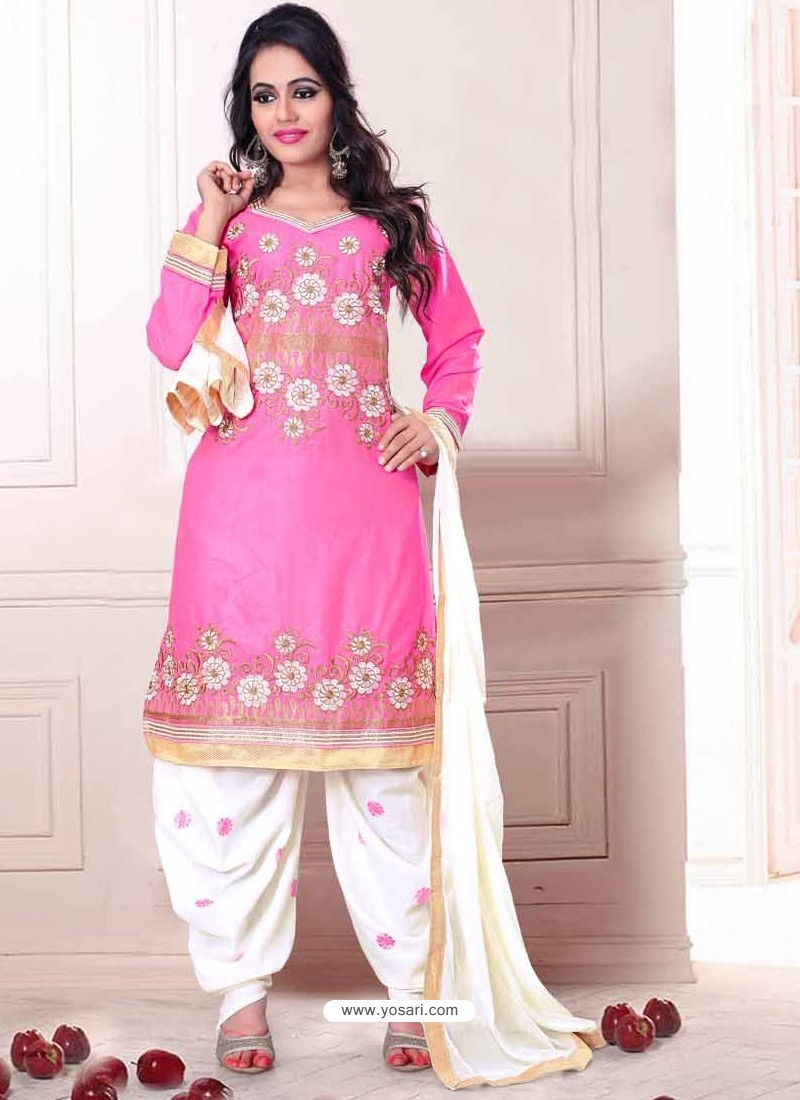 430a81f46b Pink And White Cotton Punjabi Suits | Punjabi Suit online