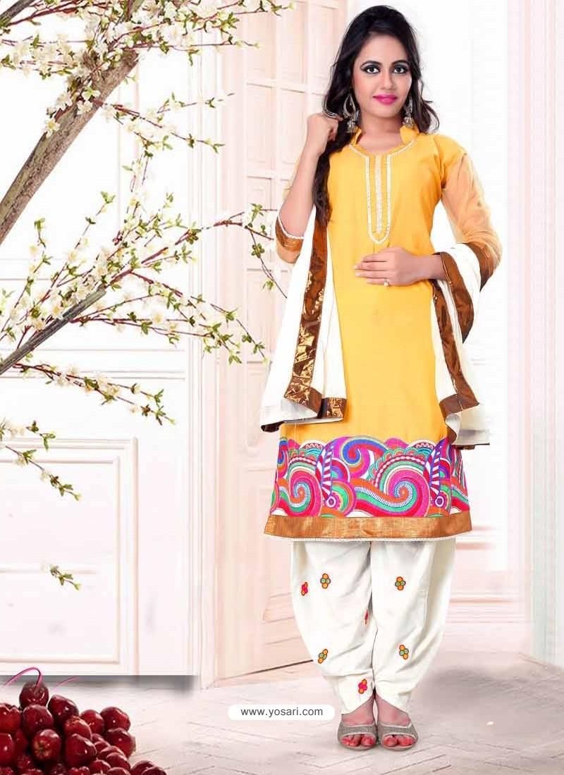 Yellow And White Cotton Punjabi Patiala Suit