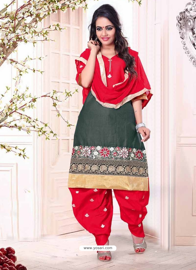 Dark Grey and Red Cotton Punjabi Patiala Suit