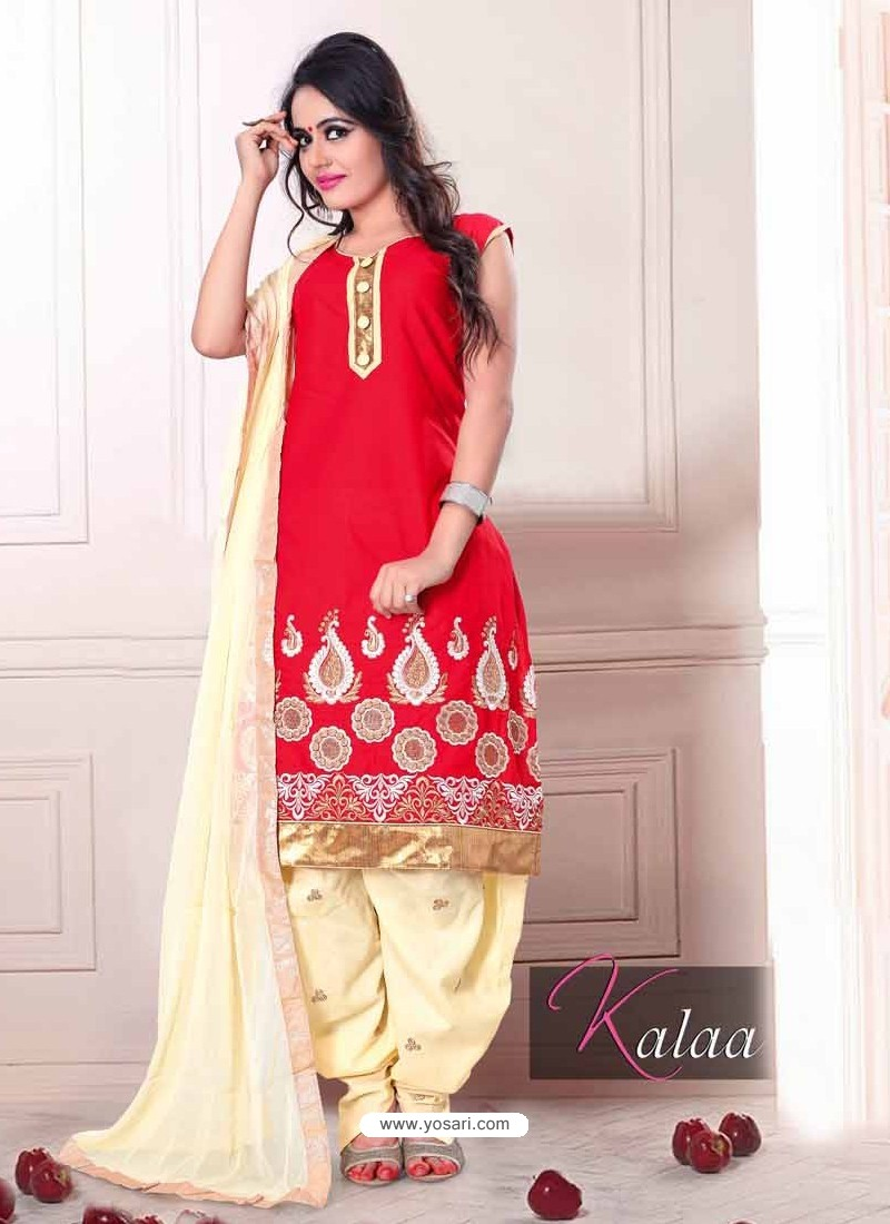 Red And Cream Cotton Punjabi Suit