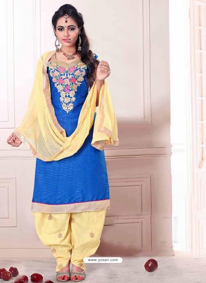 Blue And Cream Cotton Punjabi Suit