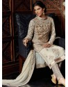Off White Tussar Silk Punjabi Suit