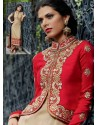 Cream Jacket Style Silk Punjabi Suit