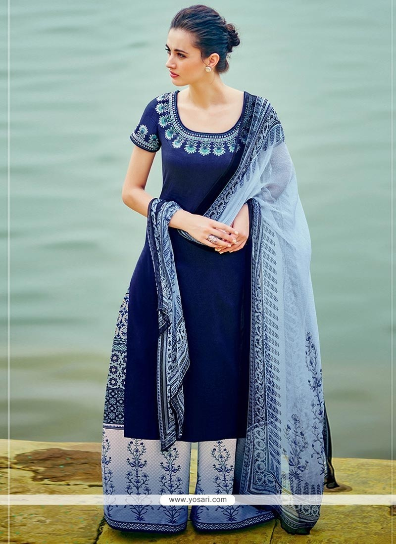 c034cabb3a25 Pristine Embroidered Work Navy Blue Cotton Satin Designer Palazzo Suit
