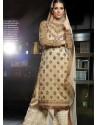 Cream Banarasi Jacquard Punjabi Suit