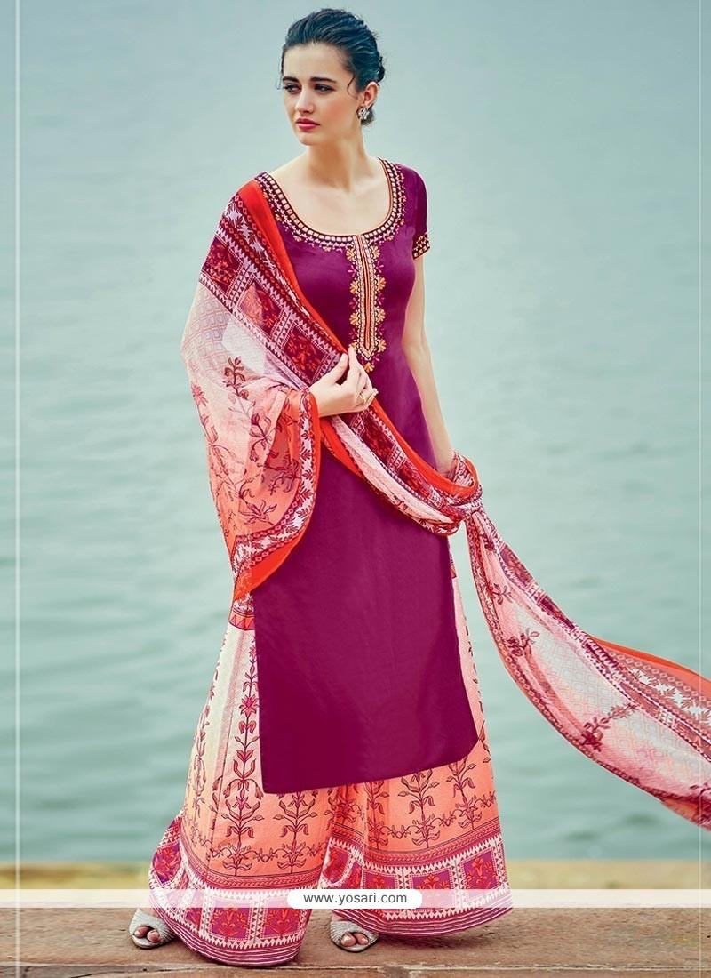 Buy Distinguishable Print Work Cotton Satin Designer Palazzo Suit ...