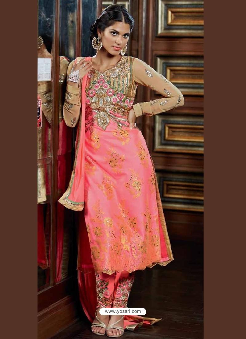 Pink Net Punjabi Suit