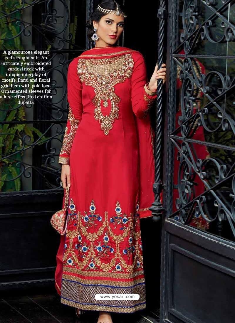 Elegant Red Tussar Silk Punjabi Suit