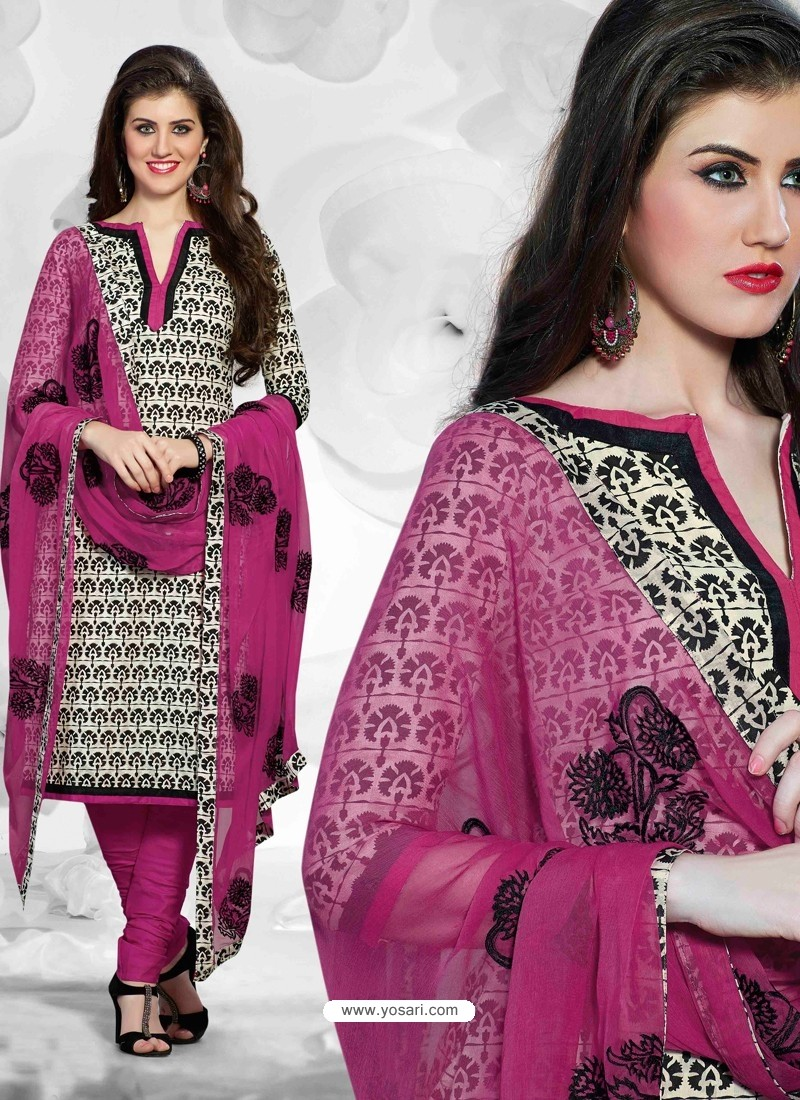Meganta And Black Cotton Churidar Suit