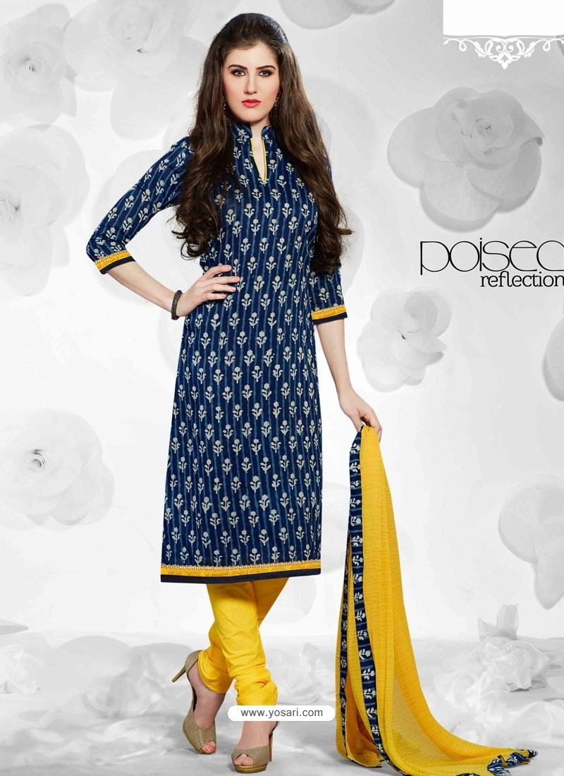 Navy Blue And Yellow Cotton Churidar Suit