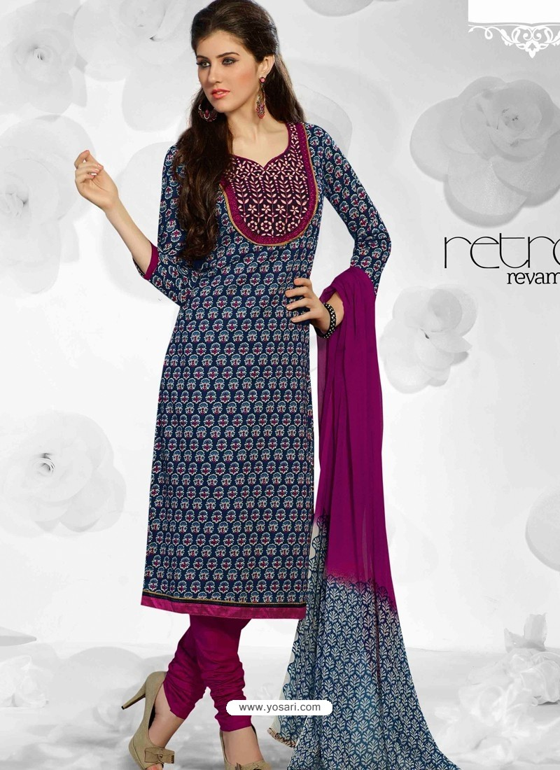 Black And Maroon Cotton Churidar Suit