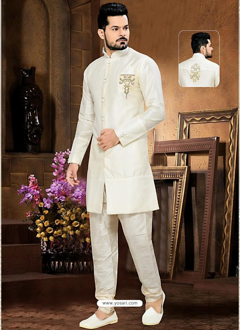 buy men 39 s white art silk sherwani sherwani. Black Bedroom Furniture Sets. Home Design Ideas