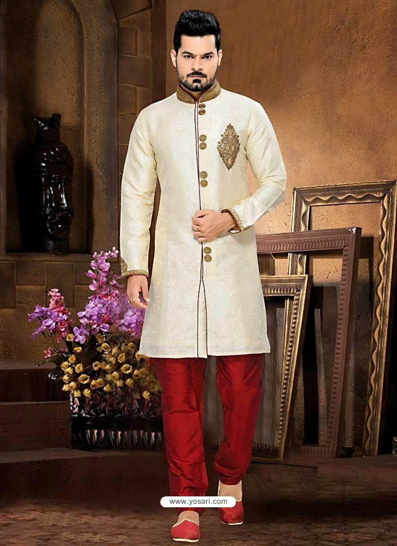2a18a1105a Buy Men's Art Silk Cream Sherwani | Sherwani