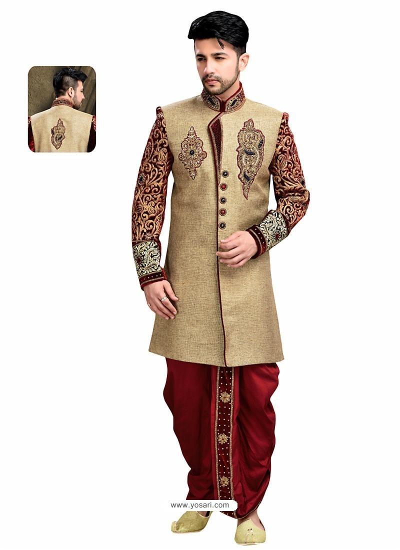 Buy Scintillating Brown Wedding Sherwani Sherwani