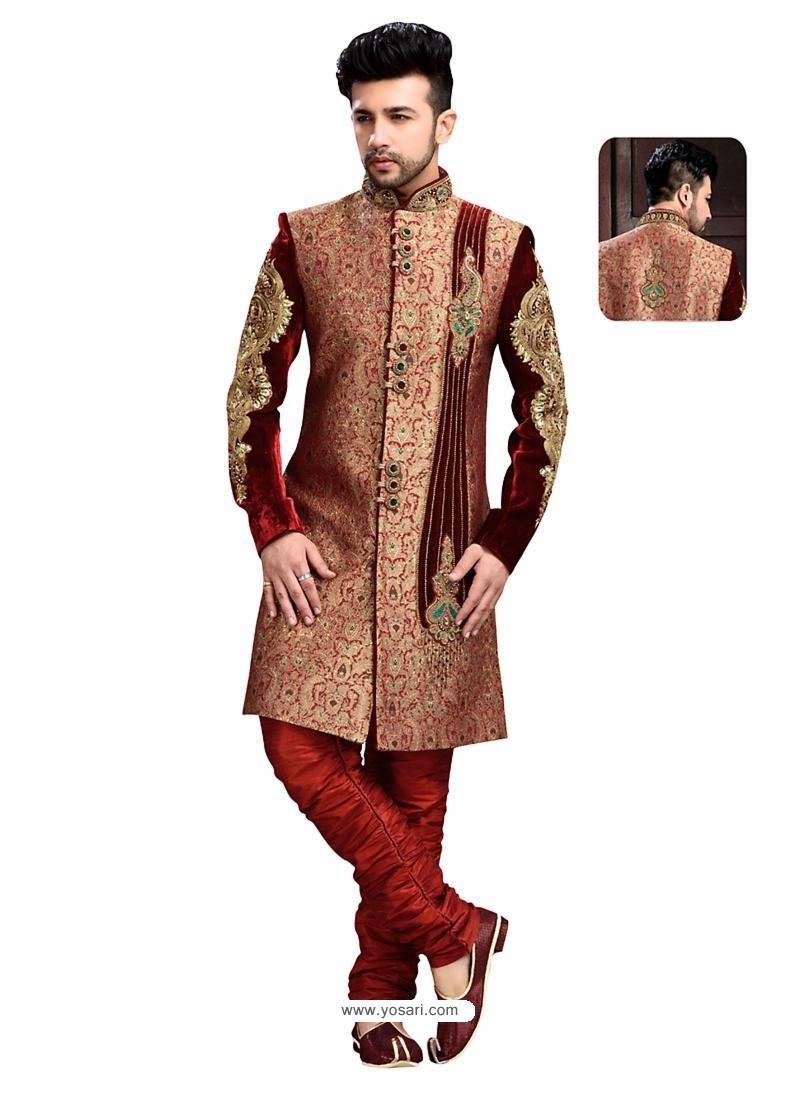 Buy Impressive Maroon Churidar Sherwani Sherwani