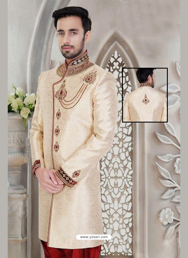 Buy Flattering Cream Wedding Sherwani | Sherwani