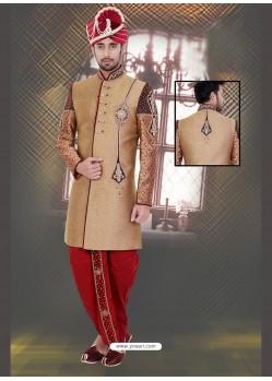 Awesome Brown Dupion Raw Silk Sherwani