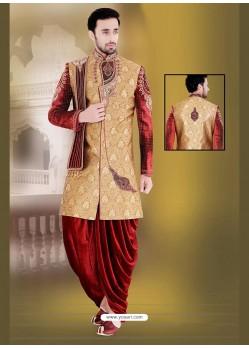 Striking Brown Dhoti Style Sherwani