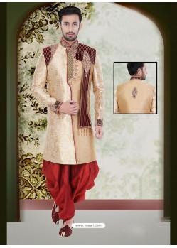 Enchanting Beige Party Wear Sherwani