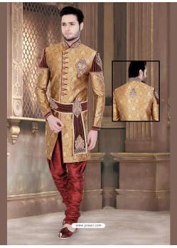 Charming Brown Brocade Jamawar Sherwani