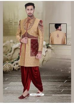 Scintillating Brown Velvet Sherwani