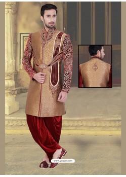 Demure Brown Dhoti Style Sherwani