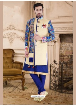 Glamorous Cream Party Wear Sherwani