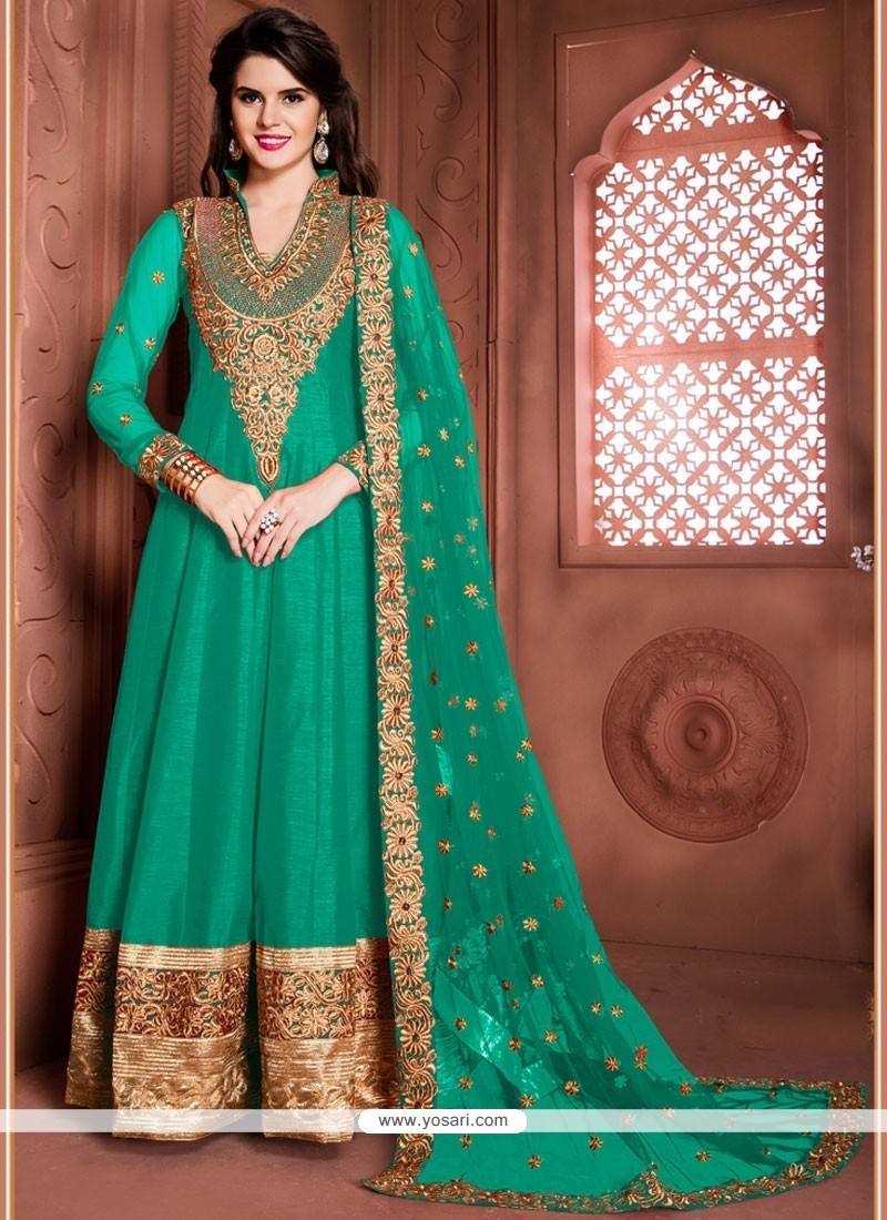 Buy Aesthetic Patch Border Work Sea Green Designer Floor Length Suit ...
