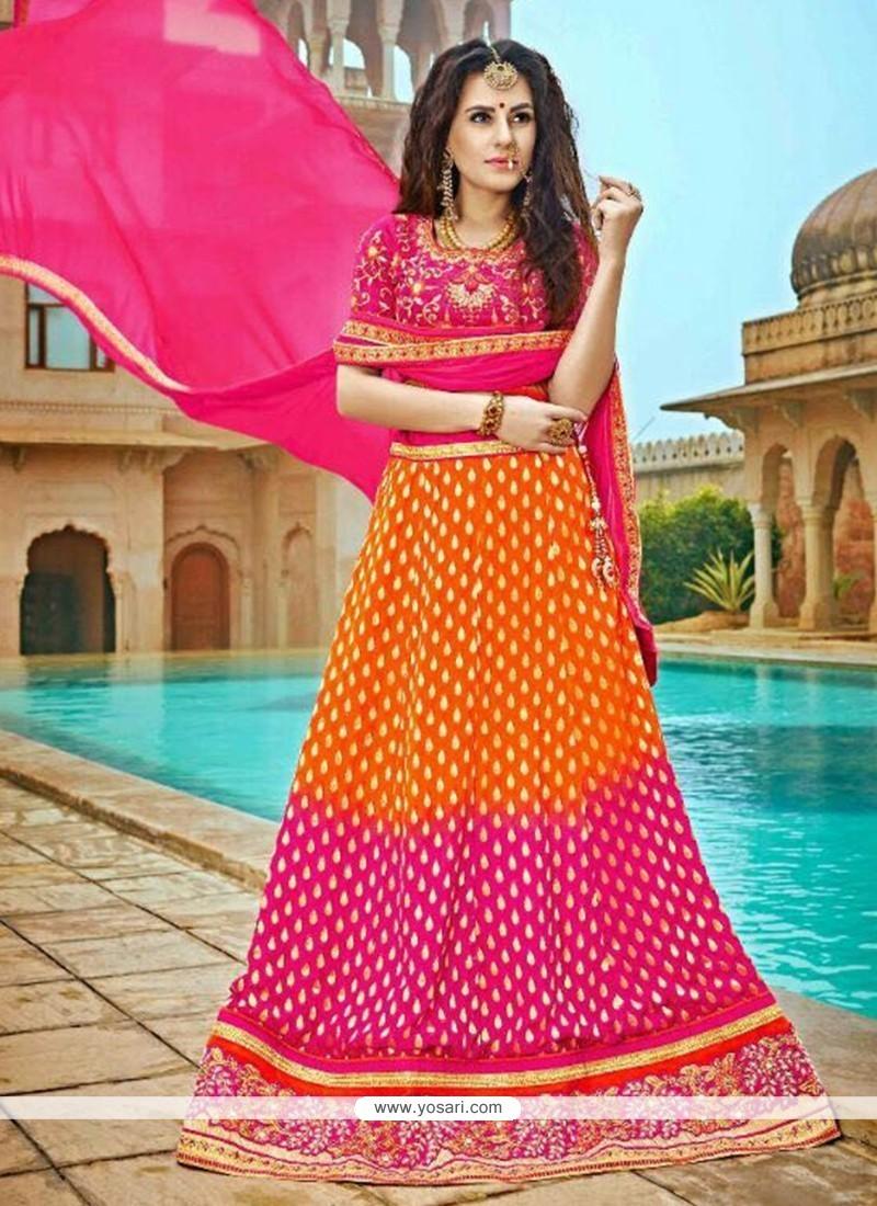 12238049e1 Buy Stylish Hot Pink And Orange Jacquard A Line Lehenga Choli ...