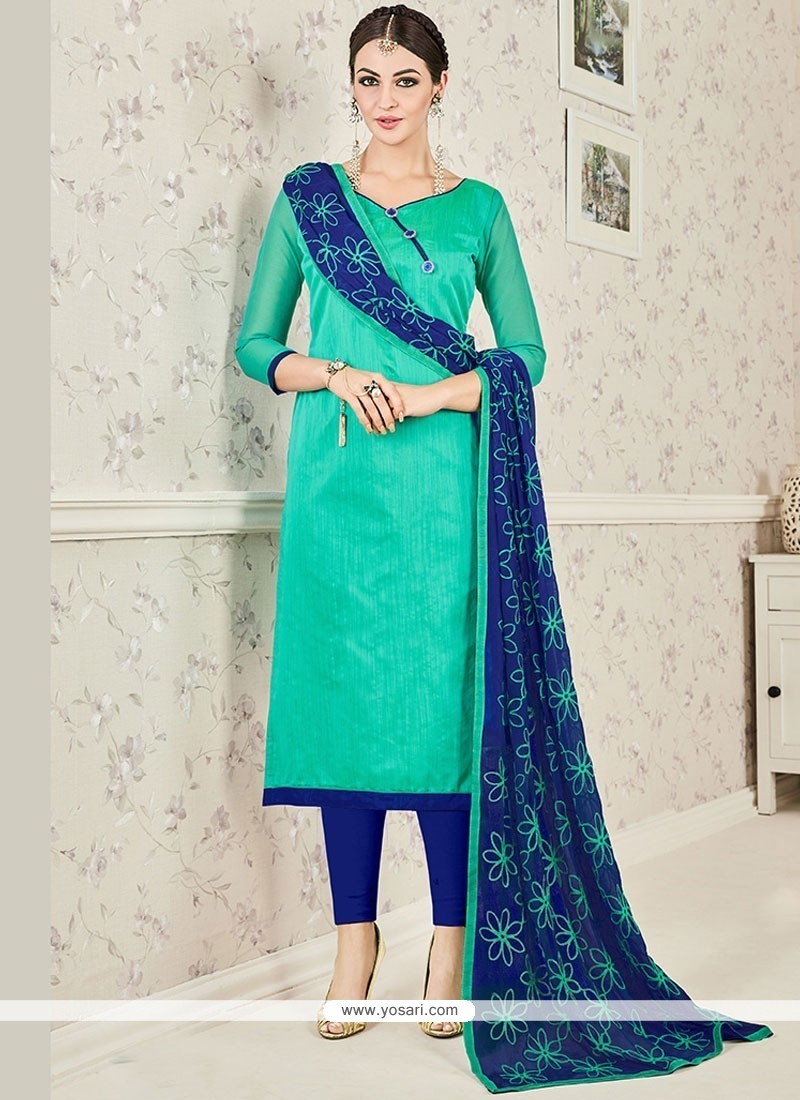 Buy Sightly Navy Blue And Sea Green Print Work Chanderi Cotton ...