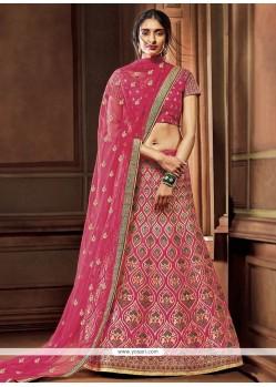 Exotic Art Silk Hot Pink A Line Lehenga Choli