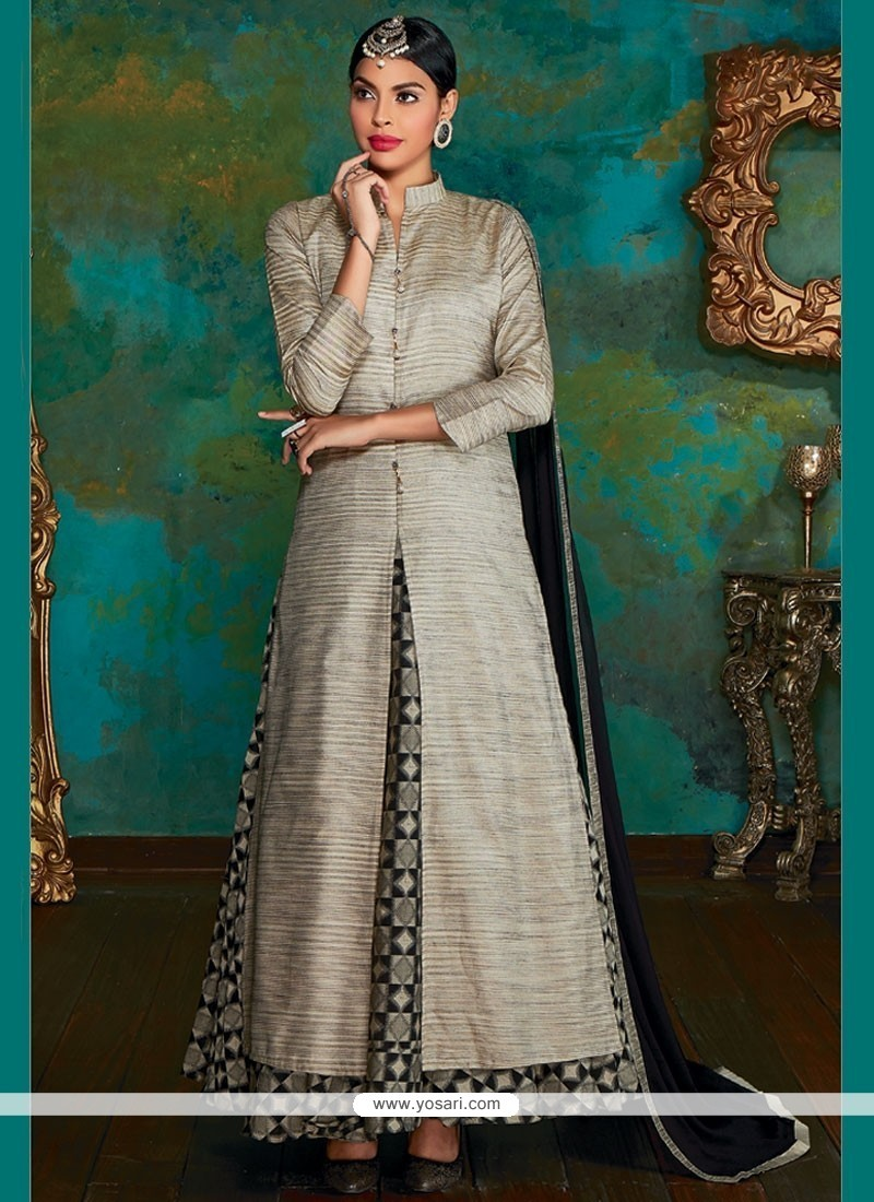 b92944bdf6 Buy Integral Dupion Silk Grey Long Choli Lehenga | Wedding Lehenga Choli