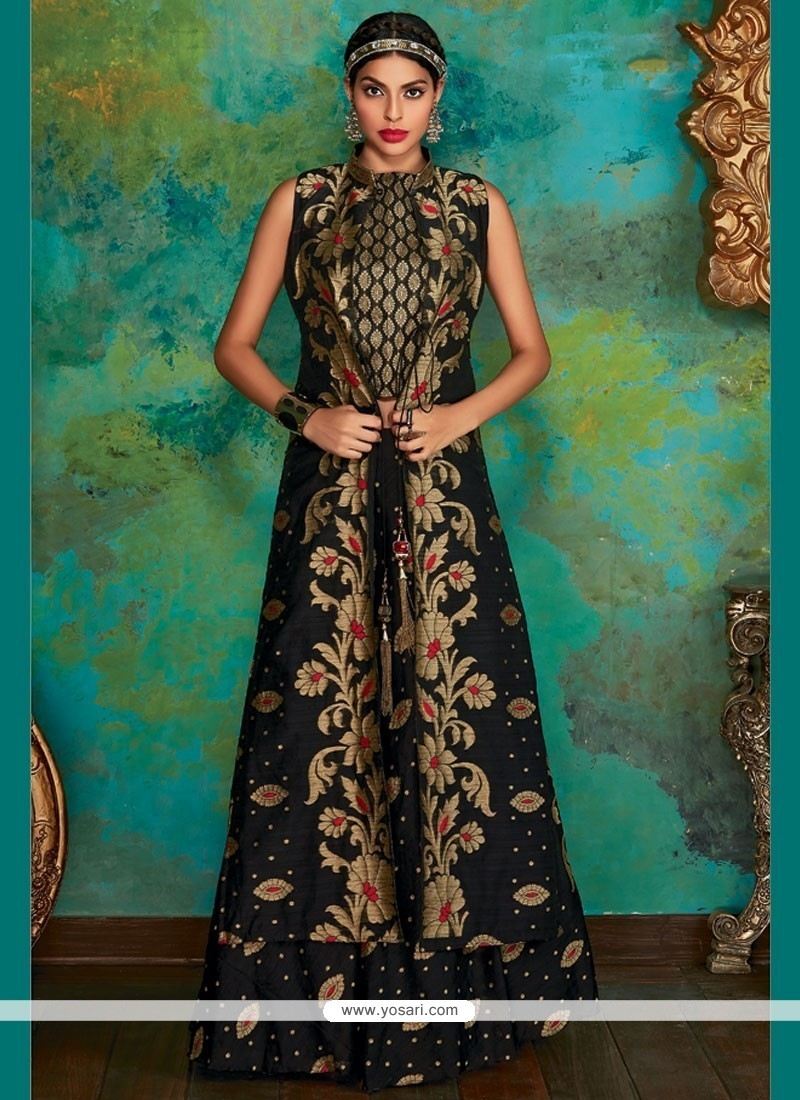 07c5519e7c Buy Marvelous Black Weaving Work Banarasi Silk Long Choli Lehenga ...