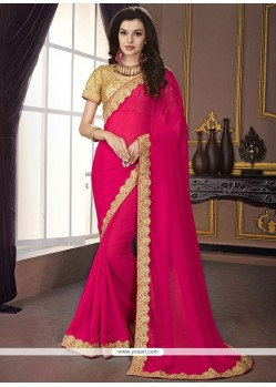 Buy Nice Hot Pink Classic Saree Designer Sarees