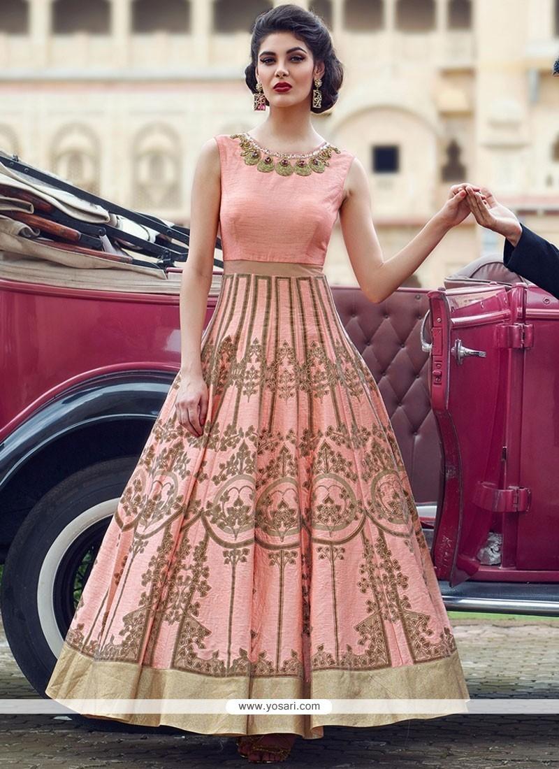 cd23d4949b Adorning Bhagalpuri Silk Peach Patch Border Work Readymade Anarkali Suit