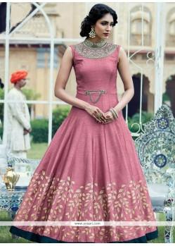 Desirable Pink Hand Work Work Readymade Anarkali Suit