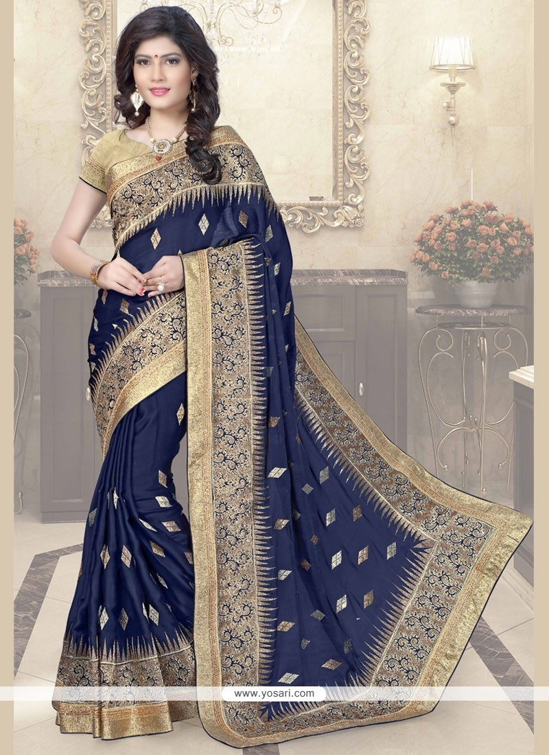dfb6774d17 Buy Engrossing Zari Work Navy Blue Faux Chiffon Traditional Saree ...