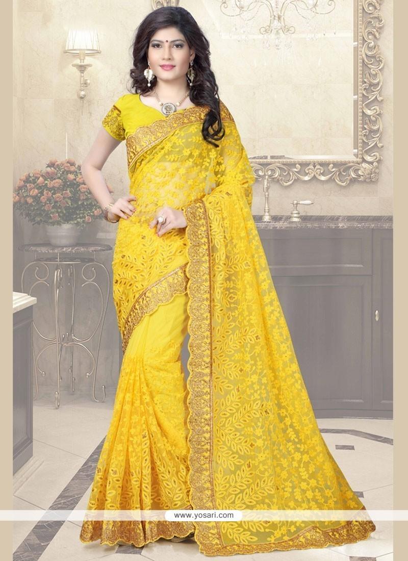 f080c635dbdc5a Buy Magnetize Diamond Work Yellow Designer Saree   Wedding Sarees