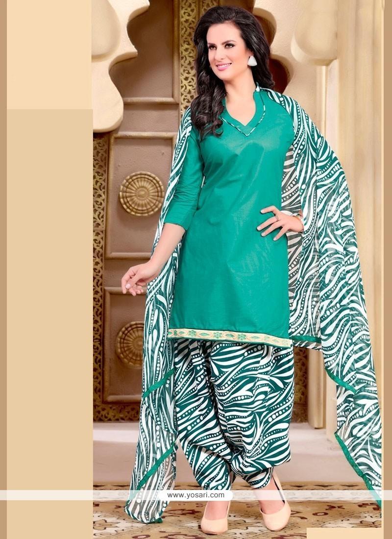 Buy Staring Print Work Cotton Sea Green Punjabi Suit | Punjabi ...