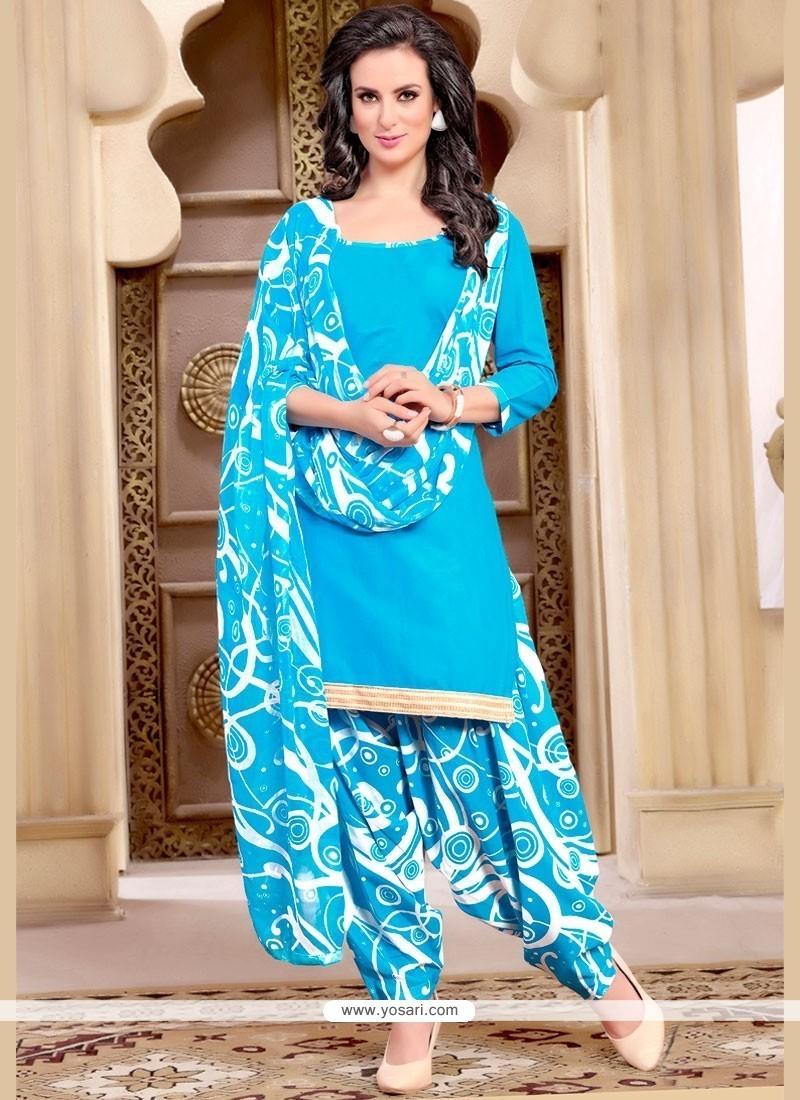 Buy Stylish Lace Work Blue Punjabi Suit | Punjabi Patiala Suits