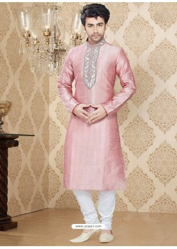 Men's Pink Art Silk Readymade Kurta