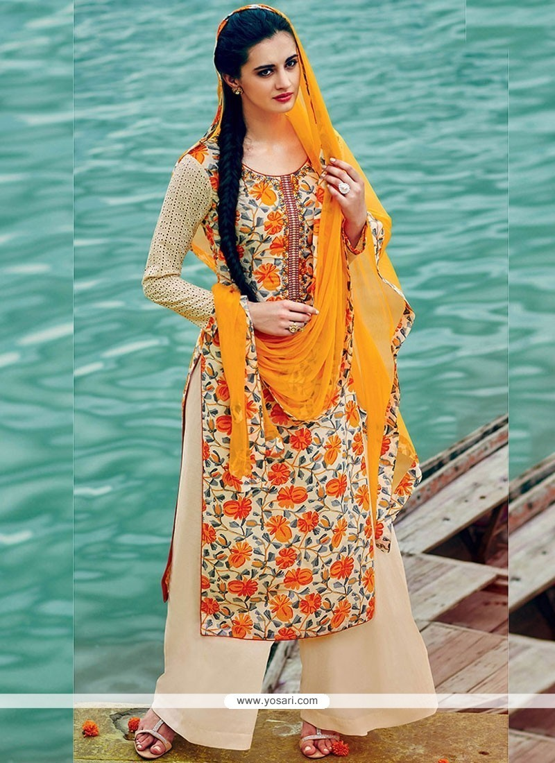 1a26f42bc4 Buy Ethnic Print Work Cotton Yellow Palazzo Suit   Palazzo Salwar Suits