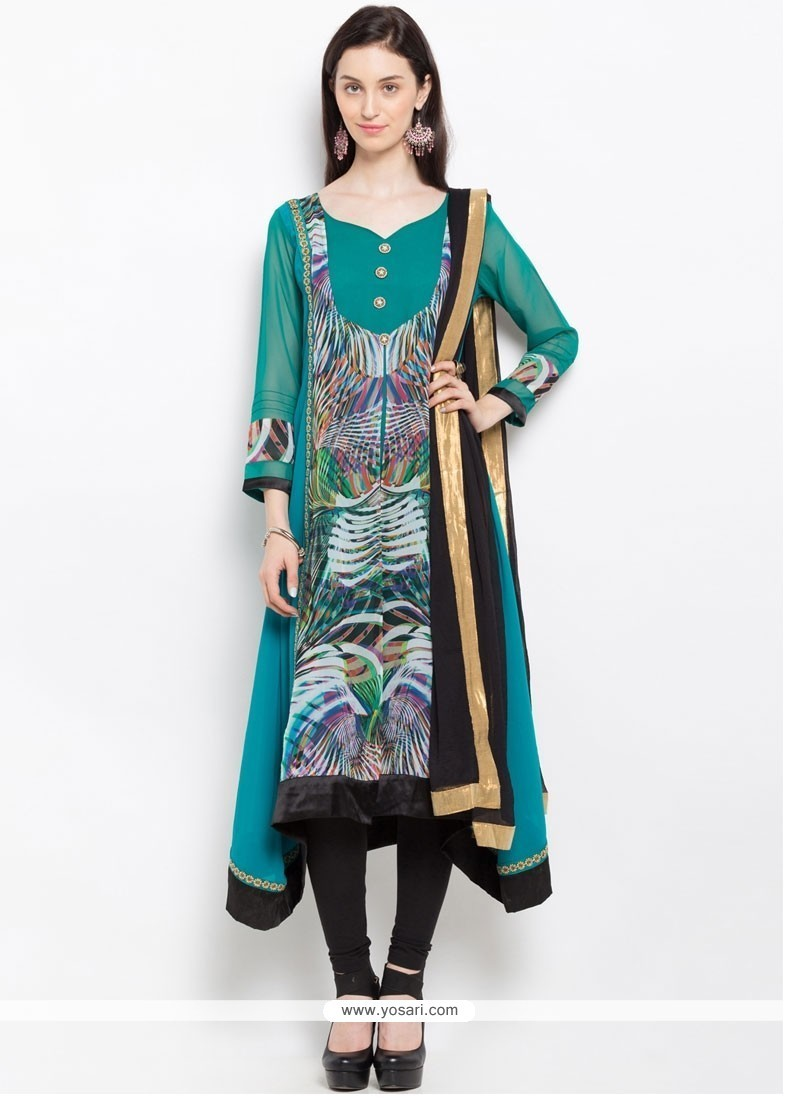 Buy Embroidered Faux Georgette Readymade Suit In Sea Green | Wedding ...