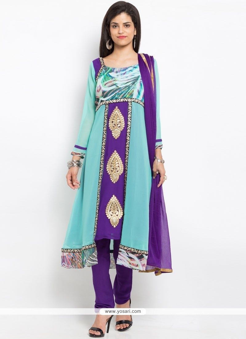 Buy Patch Border Faux Georgette Readymade Suit In Blue And Purple ...