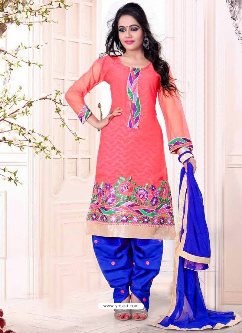 Pink And Blue Cotton Pakistani Suits