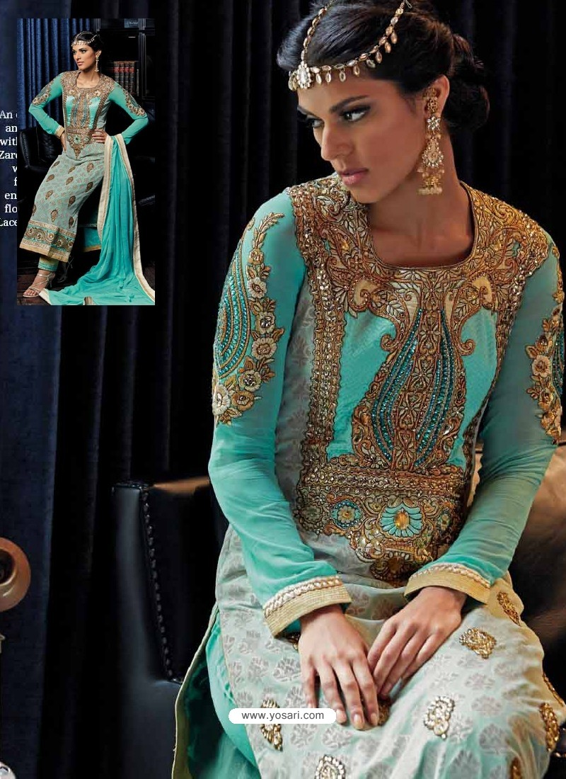 Cream And Blue Banarasi Silk Punjabi Suits | Punjabi Suit online