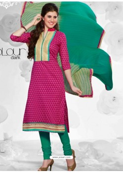 Pink And Green Cotton Churidar Suit