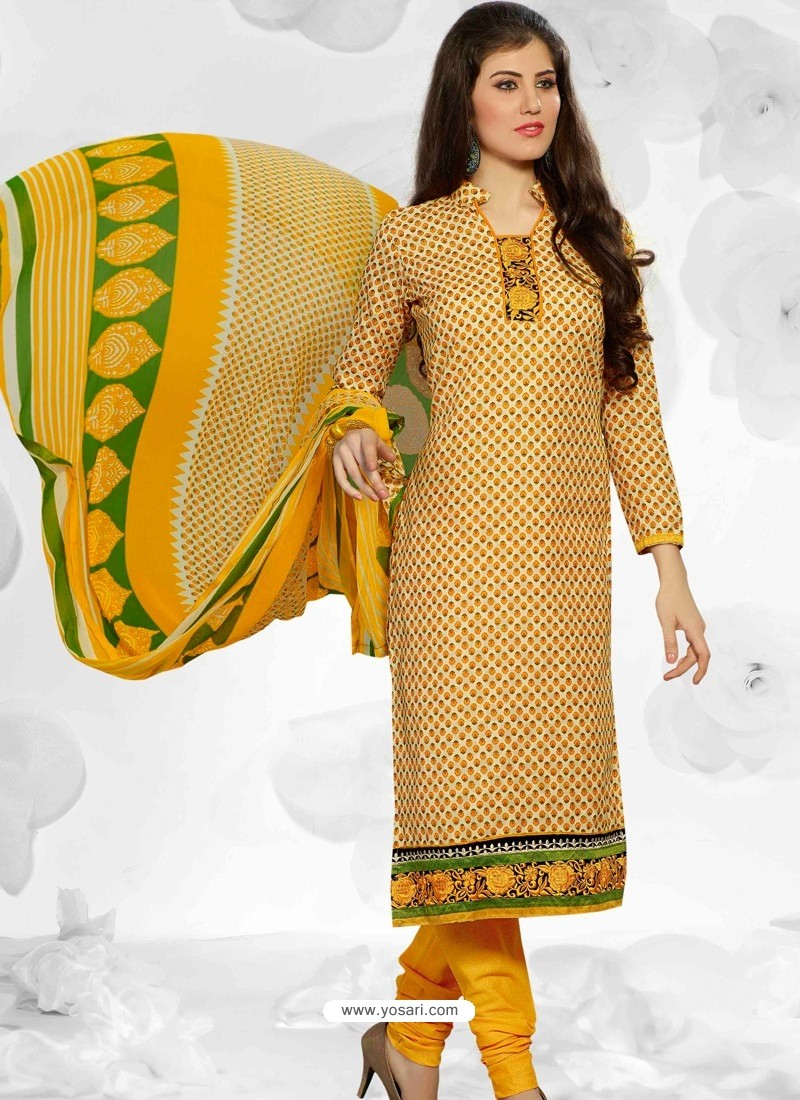Mustard Cotton Churidar Suit